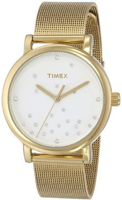 Timex Women's T2N9869J Originals Crystal Accents Gold-Tone Stainless Steel Mesh Band Watch $99.28 thestylecure.com