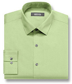 Kenneth Cole Reaction Men's Chartreuse Green Long Sleeve Slim Fit Solid Dress Shirt