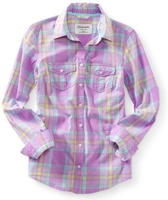Aeropostale Long Sleeve Plaid Woven Shirt