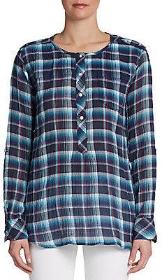 C&C California Crinkle Plaid Pullover