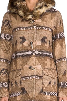 BB Dakota Davina Faux Coyote Fur Trim Patterned Coat