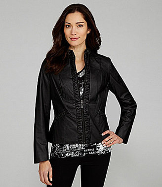 TanJay Woman Ruched Faux-Leather Jacket