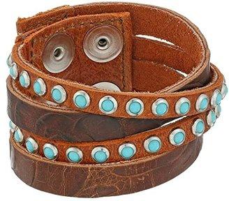 Leather Rock B622 (Handtiqued Auburn/Etna Eagle Cognac/Old Silver/Patina Cabs) Bracelet