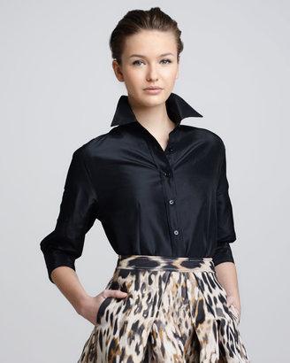 Carolina Herrera Classic Silk Taffeta Blouse, Black