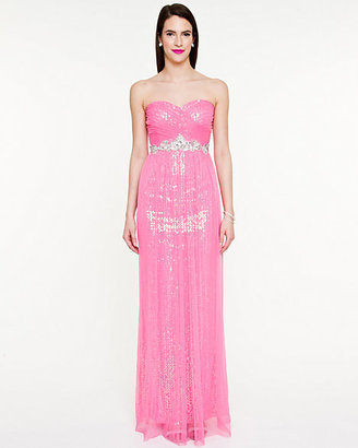 Le Château Sequin Sheer Knit Sweetheart Gown