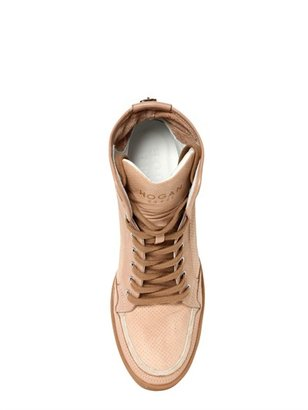 70mm Leather High Wedged Sneakers