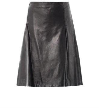 Jil Sander Navy A-line pleated leather skirt