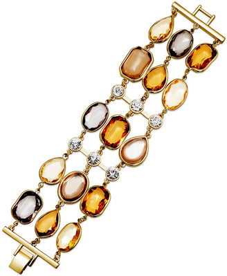 Charter Club Gold-Tone Multi-Color Glass Stone Three-Row Bracelet