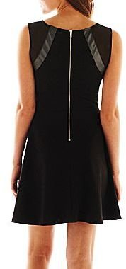JCPenney Faux-Leather Inset Skater Dress