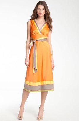 Catherine Malandrino Banded Silk Surplice Dress