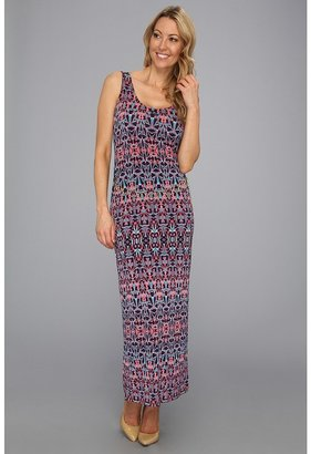 Anne Klein Ikat Stripe Maxi Dress (Navy/Coral Multi) - Apparel