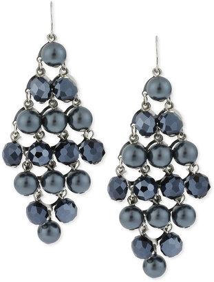 Kenneth Cole New York Earrings, Silver-Tone Navy Glass Pearl Chandelier Earrings