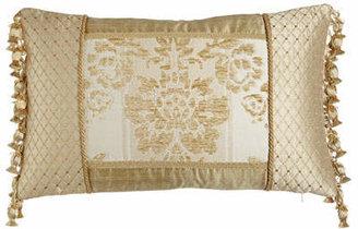 "Austin Horn Collection Antoinette Pieced Boudoir Pillow with Side Onion-Tassel Fringe, 13"" x 19"""