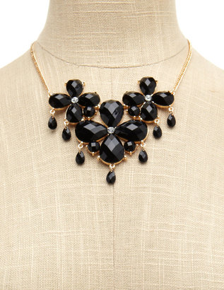 Charlotte Russe Floral Teardrop Gem Necklace