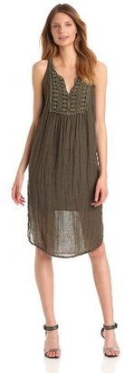 Michael Stars Women's Cosette Textured Linen Split Neck Crochet Midi Dress