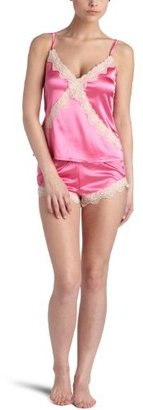 Intimo Women's Stretch Charmeuse Cami Top with Tap Pant Set