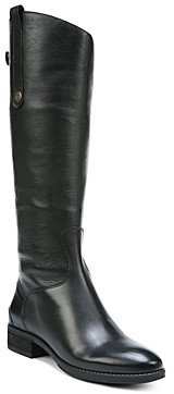 Sam Edelman Women's Wide Calf Penny Round Toe Leather Low-Heel Riding Boots