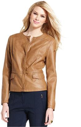 Alfani Jacket, Collarless Faux Leather