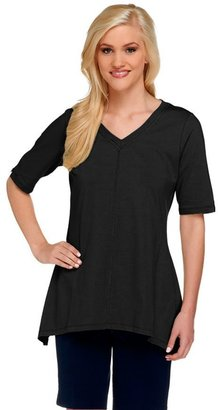 Denim & Co. Perfect Jersey V-neck Trapeze Hem Top