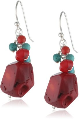 """Barse Basics"""" Red Bamboo Coral Turquoise Drop Earrings"""