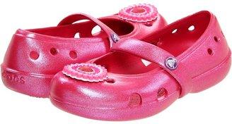 Crocs Keeley Iridescent Flat (Toddler/Little Kid) (Raspberry/Blue Iridescent) - Footwear
