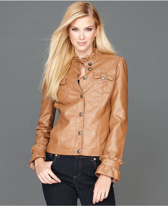 INC International Concepts Jacket, Faux-Leather Ruffle-Collar