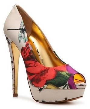 Ted Baker Carlina Floral Satin Peep Toe Pump