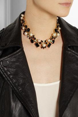Erdem + VICKISARGE gold-plated Swarovski pearl and crystal necklace