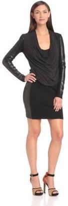 Nicole Miller Women's Dani Leather Combo Dress