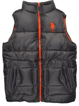 U.S. Polo Assn. Kids - Mini Ripstop Vest w/ Fleece Lining (Big Kids) (Charcoal/Orange) - Apparel