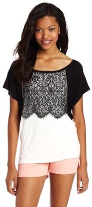 Jolt Juniors Hi-Lo Lace Trim Top