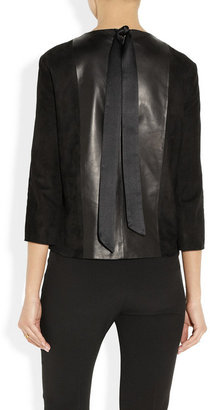 The Row Manford leather and suede top