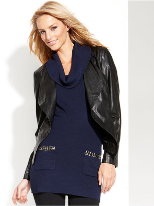 INC International Concepts Faux-Leather Drape-Front Jacket