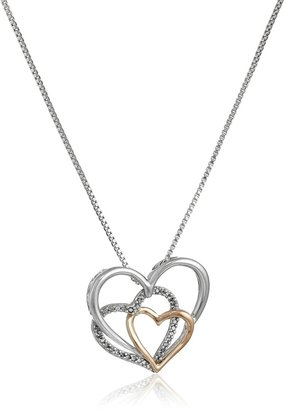 """Amazon Collection Sterling Silver and 14k Rose Gold Diamond Accent Triple Heart Pendant Necklace 18"""""""