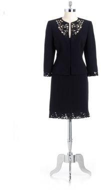 Tahari ARTHUR S. LEVINE Two-Piece Lace Embellished Skirt Suit