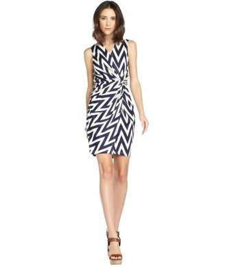 Julie Brown JB by navy and white stretch 'Lucia' chevron pattern sleeveless knotted ress