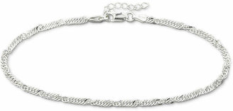 PRIVATE BRAND FINE JEWELRY Made in Italy Sterling Silver 10 2.9mm Singapore Ankle Bracelet