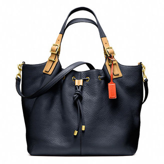 Coach Soft Legacy Drawstring Xl Shoulder Bag In Pebbled Leather