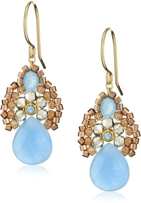 """Miguel Ases Blue Jade and Smoky Created Quartz Drop Earrings 1.4"""""""