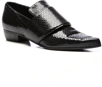 Rodarte Embossed Leather Pointed-Toe Flats