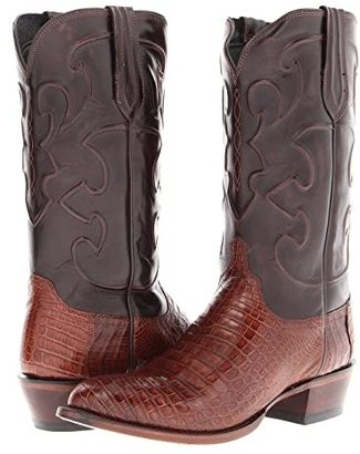 Lucchese M1635 (Sienna Belly Crocodile/Dark Brown Derby Calf) Cowboy Boots