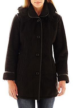 JCPenney Excelled Leather Hooded Faux-Shearling Button-Front Jacket