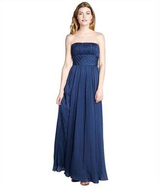 BCBGMAXAZRIA ink silk chiffon pleated strapless evening gown