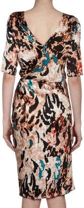 Rachel Roy Printed Faux Wrap Silk Dress, Black/Multicolor