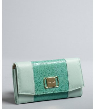 See by Chloe aqua green leather and stingray embossed wallet