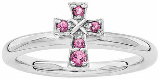 Silver Cross FINE JEWELRY Personally Stackable Genuine Pink Tourmaline Sterling Ring