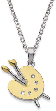Bed Bath & Beyond My First Diamond Sterling Silver Diamond Love Paint Necklace (.005 cttw,I1-I2 Clarity, H-I Color)