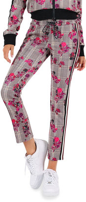 Pam & Gela Floral Plaid Cropped Track Pants