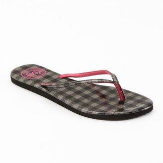 So ® glitter gingham plaid patent flip-flops