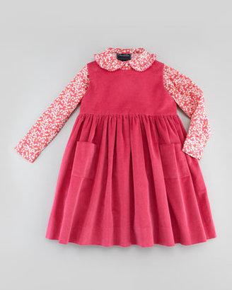 Oscar de la Renta Baby Corduroy Pinafore Dress, Hot Pink, 18M-2Y